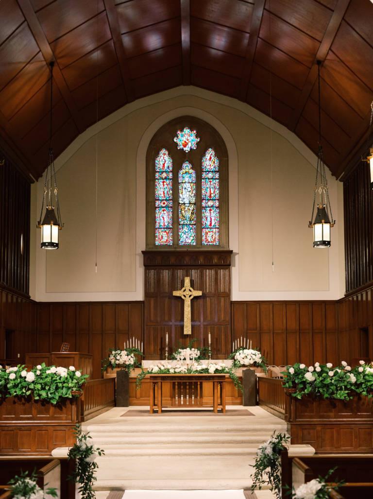 wedding church altar setup