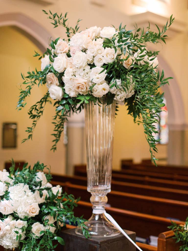 tall church flower arrangement