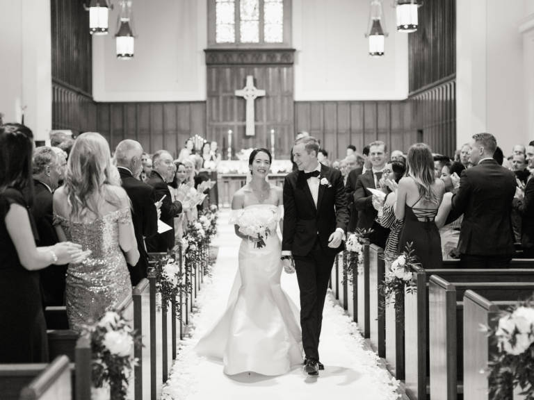 bride and groom leave ceremony