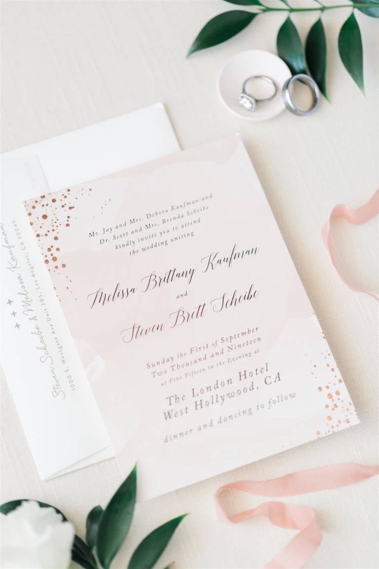 invitation suite pink and white