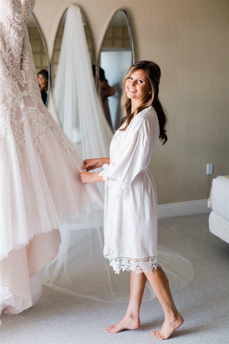 bride in robe