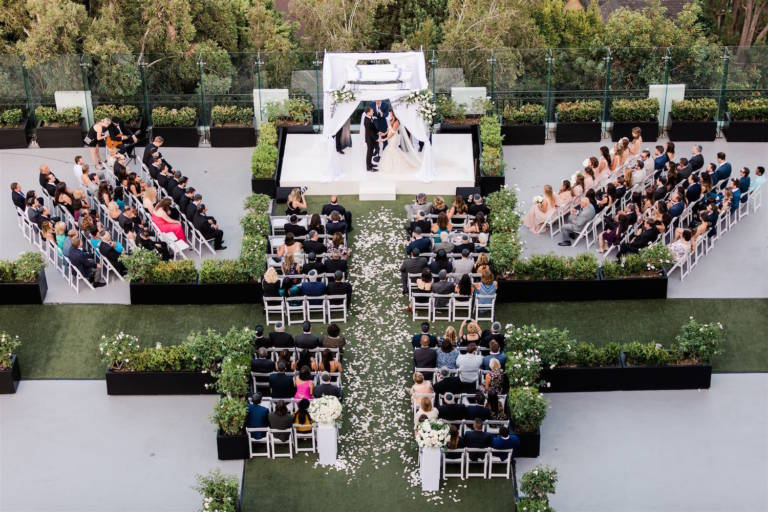 aerial wedding ceremony