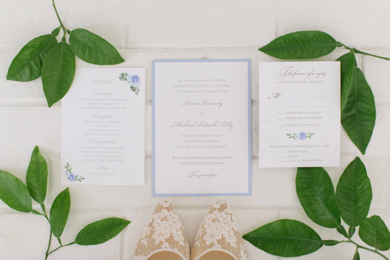invitation suite with greenery