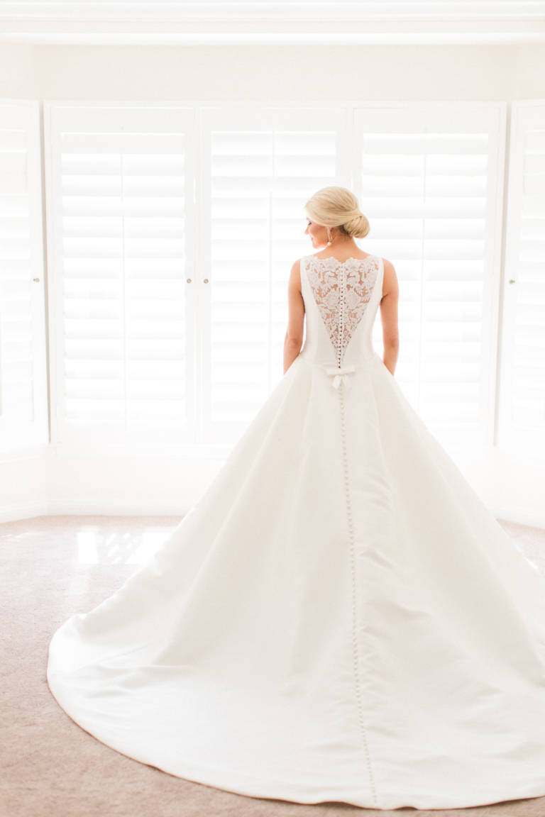 wedding gown with lace back