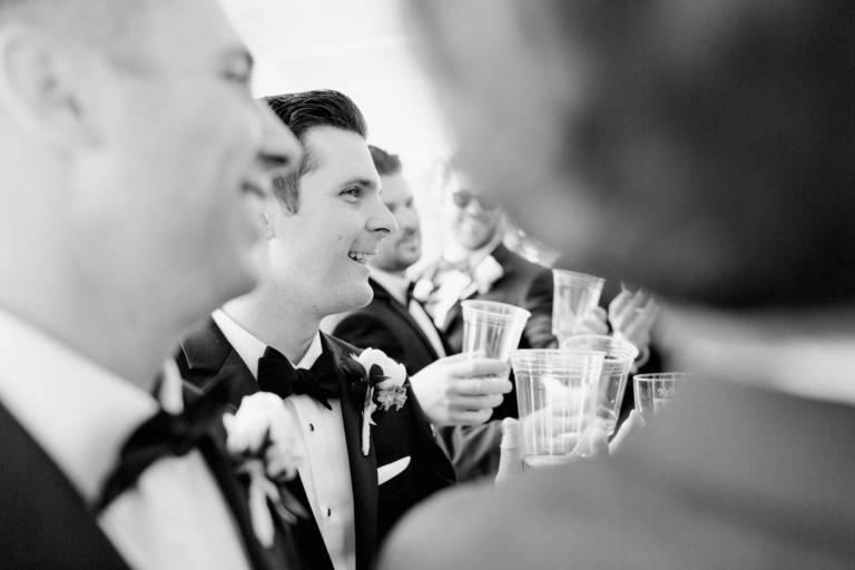 groom and groomsmen toast