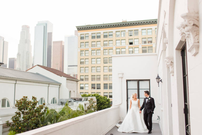 bride and groom at vibiana