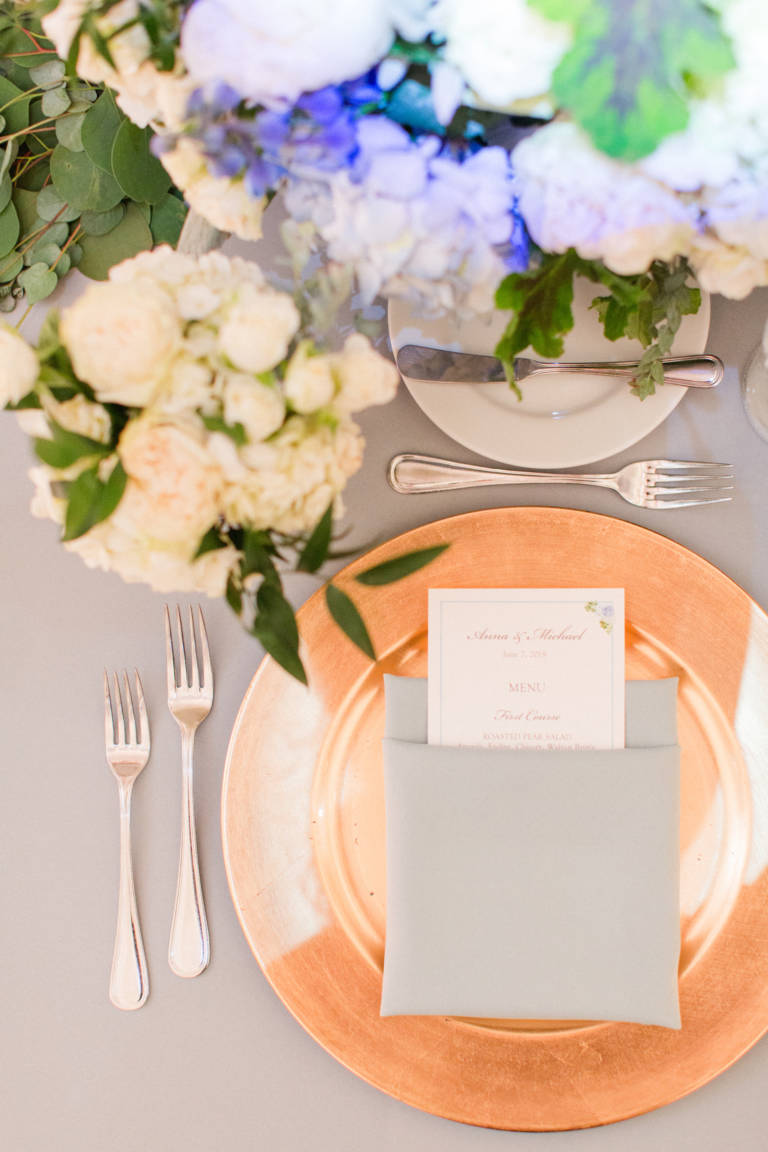 gold charger wedding table