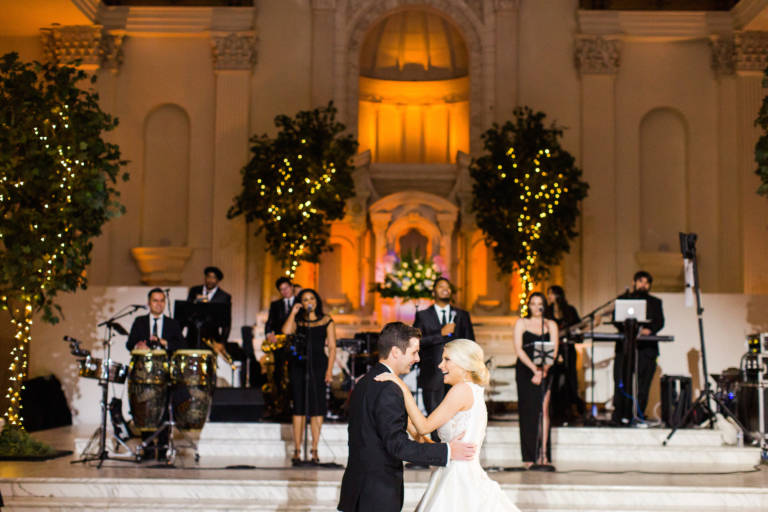 bride and groom first dance at vibiana
