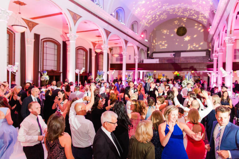 wedding guests dancing at vibiana