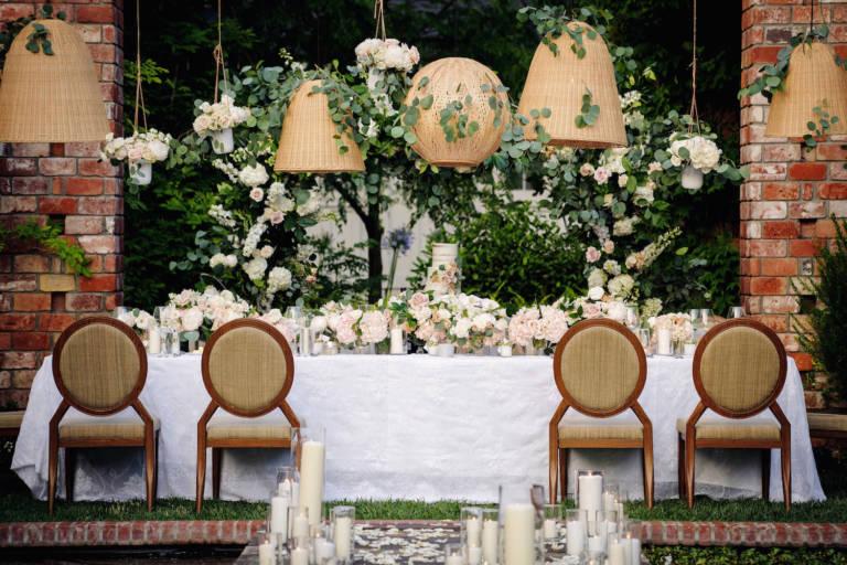 lush outdoor wedding reception