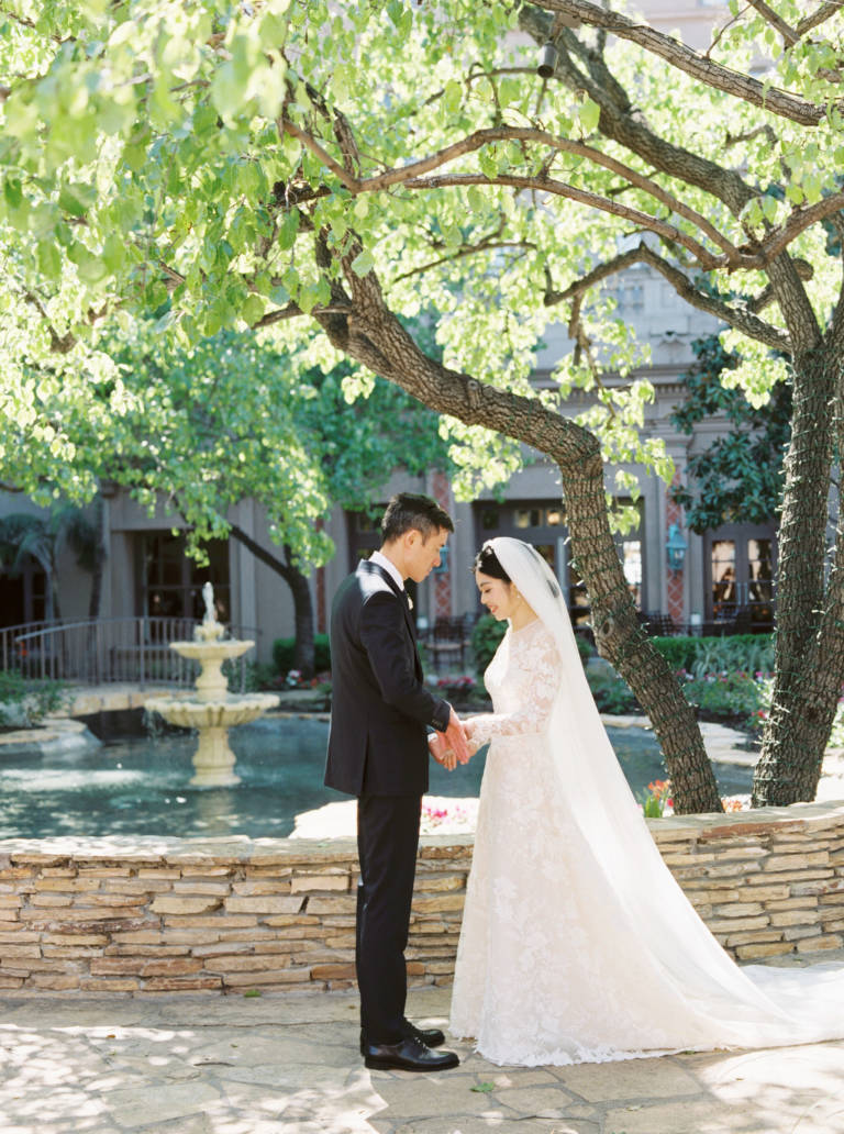 Bride and Groom in Courtyard Garden
