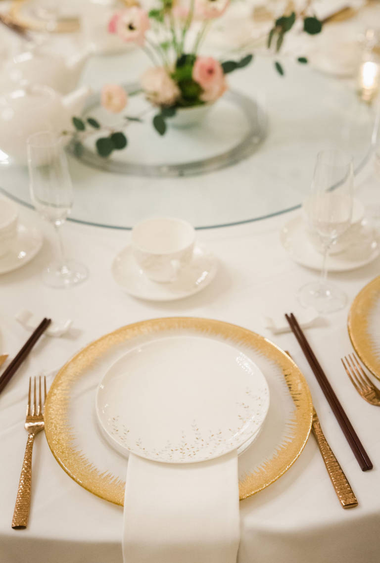 Wedding Table Setup with Gold Charger