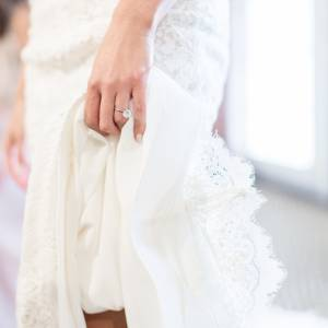 bridal gown details with ring