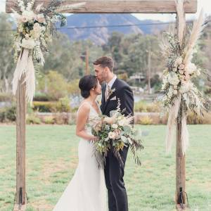 rustic outdoor wedding altar